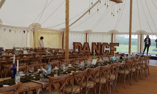 Rustic Letters in a Marquee for a wedding