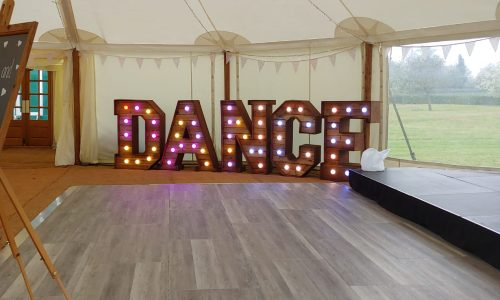 Our 4ft rustic letters spelling DANCE