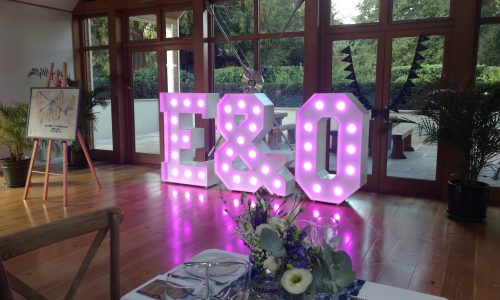 Big Letters E&O set up at the Larmer Tree Gardens in Salisbury for a wedding