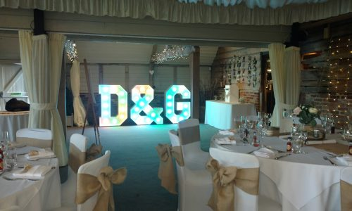 The letters D&G all set up and ready for the wedding to begin.