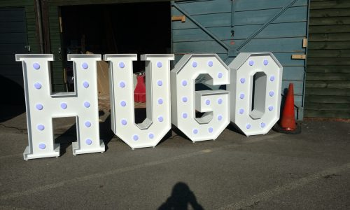 The letters HUGO freshly made for a child's birthday party
